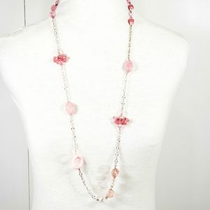 Multi-bead Pink Silver Necklace and Earrings Set